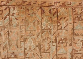 Pre-Columbian painted textile with bird, fish and geometric motifs.  Soft, pleasing color palette and interesting Eschar-like composition.  21 x20 inches.  Conserved and mounted to a frame.  Ready to  ...