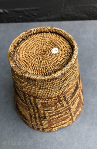 Native American polychrome basket from the Altiplano region of South America.  A.D. 500- 800.  Sometimes recovered from high altitude, dry caves these rare baskets share certain characteristics with Native American  ...