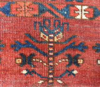 Absolutely enormous Turkmen trapping or storage bag of monumental scale. This piece is old with great colors. See the image that compares it to a standard sized juval of the same group.  ...