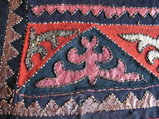 """Central Asian Kirghiz small Applique: leather, wool, some metal thread and perhaps cotton on a block-printed back, silk stitching. 24"""" x 16"""""""