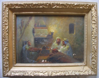 Orientalist Oil Painting, 19th Century.  North African scene.  Oil on canvas over old fiber board.  As is. Needs some cleaning and restoration.  Size: 10 x 14 inches. Last  ...