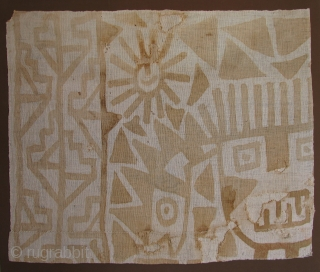 "Pre-Columbian Painted Textile Fragment.  AD 1000 - 1400.  Size 33"" x 29"" framed."