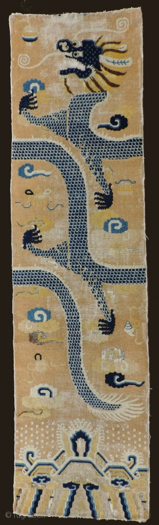 Early Chinese Pillar Carpet, possibly circa 1700.   This is something special!  A really beautiful, early piece with silky, downy wool, soft and subtle colors that have altered little over  ...