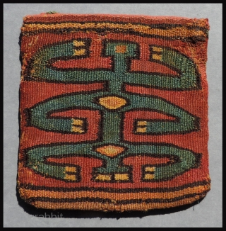 Pre-Columbian bag with yellow and gold figures.  A.D.  400 - A.D. 600.  This early Nasca Culture tapestry bag is from the South Coast region of Peru.  It displays  ...