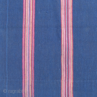 Aymara Poncho, first half of the 19th century, Altiplano, Bolivia,  Challa region.  Warp-faced plain weave. Deep indigo field with six bands of stripes.  Minimal, rustic and timeless beauty.   ...