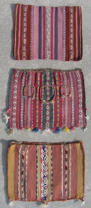 Nine, 19th Century Aymara Coca Bags. These were personal pouches, (chuspa) made for men to hold the sacred coca leaves used in all ritual practices and most social interactions.  Beautiful examples.  ...