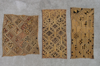 Three Kuba Raffia Man's Status Cloths, early 20th century,  Excellent examples, more to choose from.