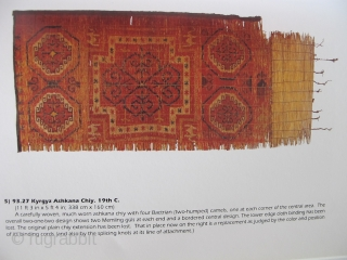 "Kyrgyz Reed Screen with Memling Guls and Camels. One of the choicest pieces published in John L. Sommer's groundbreaking book, ""The Kyrgyz and Their Reed Screens"" (1996) as plate' 5) 93.27 Kyrgyz  ..."