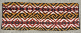 Large Antique Central Asian warp-faced woven strip rug or cover.  Probably Uzbek.  It was woven in one long strip 11 inches wide and nearly seventy feet long that was cut  ...