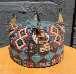 Impeachment hearing special!  Way rarer than Trump telling the truth.  Highly unusual Andean four-cornered hat. a.d. 500 - 900. This hat is made with open-work panels on four sides. At first  ...