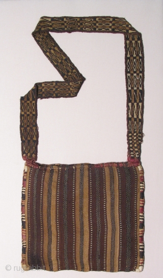Incan Coca Bag with Strap.  Peru or Bolivia, Incan Period, 1400 - 1532 AD.  Fine and in excellent condition.  Inca period, man's bag with strap (chuspa) for carrying sacred  ...