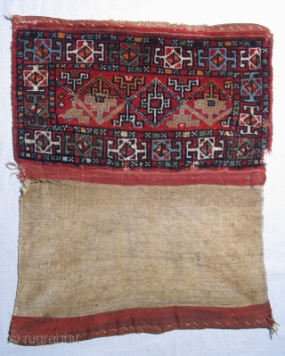 """Turkish """"turkmen"""" torba.  19th century. All natural colors.  Complete with flat weave back.  Size:  (Front face) 27 x 32 inches.  opened out 31 x 32 inches.   ..."""