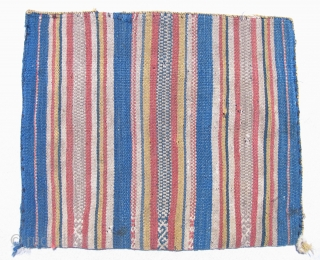 Aymara Coca or Carrying Bag, (Chuspa, or Alforja)  Rare blue ground bag, large with double-headed snake design in center band.  19th century.