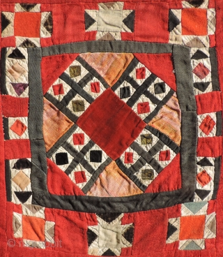 Central Asian pieced bag. Out of Tibet. Old.. Possibly Khirgiz or Uzbek ??  I've seen other examples of this work, but none have been as delicate and petite.  The scale  ...