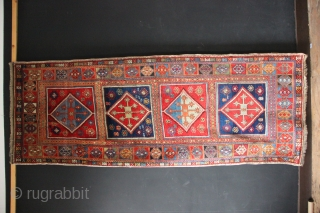 Lovely old Sivas or Nigde long rug with beautiful colours and highly patinated wool. Full pile but some old repairs and two largish areas where the wefts were obviously weak and there's  ...