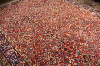 "Gorevan Heriz carpet early 20th century. Unusual allover design with nice touches of green upon the rusty red ground. Thin pile but very serviceable decorative carpet. 8'10"" x 10'11""/ 269 x 333cm"