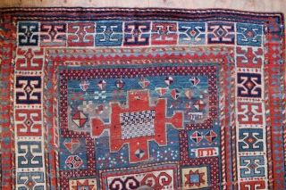 "Pretty shabby chic Karachopf Kazak circa 1900. Thin but no holes 5'0"" x 6'7"" / 153 x 201cm nice square size. Natural dyes and some interesting symbols."