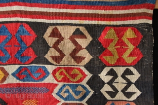 "antique West Anatolian small kilim, 3'10"" x 5'4"". Original untouched condition and very pleasing all natural dyes. Late 19th century"