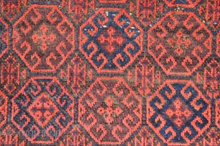 "Antique Balouch rug 2'4"" x 4'3"". Full pile, original goat hair side cords. All vegetable."