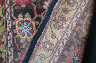 "Kurdish Mina Khani rug circa 1880, filthy, as found, with primitive repairs to the edges and field. 3'10"" x 6'7"""