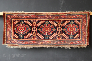 "Antique Sauj Bulagh mafrash side panel. Superb colour, great wool. Three small patches running along the top, obviously cannibalised from another panel from the same mafrash. Circa 1850-75. 4'3"" x 1'8"""