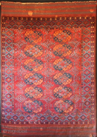 An exceptional Ersari Main carpet circa 1850. Full pile, incredible colour. Pictures taken pre- tidying up of kilim ends and selvedges being re-done properly. They were horribly rewrapped but underneath was the  ...