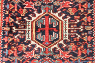 Pretty Karadja rug circa 1920, slightly low, just beginning to go at one end. Approx 3' x 5'