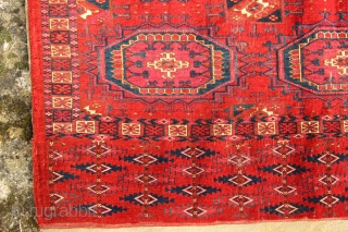 A very fine and colourful complete Tekke transport chuval from ca 1850. A beautiful range of colours from a brick red ground colour to the sparing use of egg yolk yellow highlights,  ...