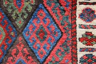 """Antique Jaf Kurd bagface in full, full pile with lovely all natural dyes. 2'0"""" x 2'0"""""""