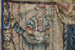 "17th/18th century Flemish tapestry fragment depicting King Solomon. 3'10"" x 3'7""/ 117 x 110cm was £575 GBP now £475 GBP"