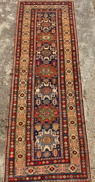 """Super fine early Shirvan runner, dated, with exceptional colours and velvety pile. Circa 1850. 3'2"""" x 8'10"""""""