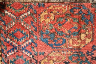 "Ersari Gull-i-gul main carpet fragment with shaggy pile and lovely colour. !9th c. 6'9"" x 3'10"" / 206 x 117cm"