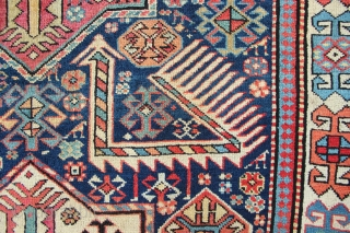 """4'0"""" x 9'10"""" / 123 x 300cm Akstafa, 19th century, all natural dyes. Good pile allover, one or two very small old repairs, sides new overbound. Clean and ready for your floor!"""