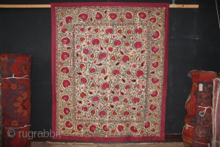 "Mid 19th century Ura Tube Suzani, Uzbekistan 197 x 165cm / 6'5"" x 5'5"""