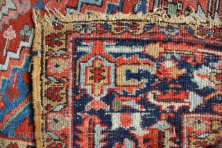 Antique Heriz carpet, Gorevan quality, circa 1910. 9' x 12' Worn as seen and in need of  a clean. Pretty light blue and green and still plenty of life left in  ...