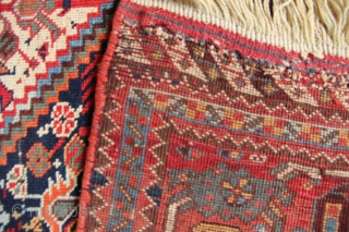 """19th century Khamseh 'Chicken' rug 5'0""""-5'2"""" x 9'6"""". Great old example of a rare and collectable tribal carpet. In generally good pile with a little foundation showing here and there, new kilim  ..."""