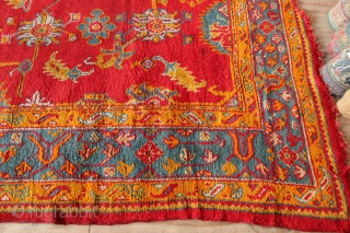 "19th century Oushak carpet 12'6"" x 10'0"" in good pile with a couple of worn spots and slightly ragged ends. Has been cleaned."