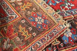 "Lovely Kurd Bidjar rug 4'3"" x 7'7"" with Mina Khani design on a pure madder red ground."