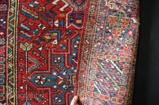 """Narrow Karadja runner ca 1930 3'0"""" x 10'9""""/ 91 x 329cm in decent condition. Some foundation visible, mostly good pile, very durable weave, modest repairs to one corner, clean, straight and ready  ..."""