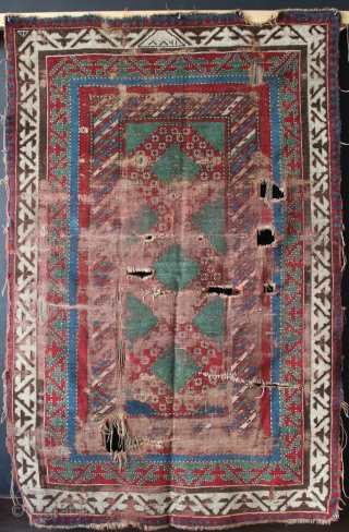 Bordjalou rug dated 1277 or 1861. Rough but priced accordingly. Great colour.