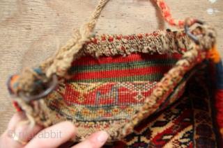 "Beautiful little Qashqai chanteh 12"" x 12""/ 30 x 30cm with sweet kilim back"