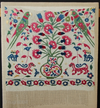 """Circa 1700 silk embroidered Epirus panels, Greek Islands. Each approximately 1'10"""" x 1'10"""", mounted."""