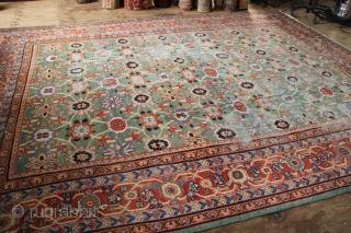 Antique Mahal carpet 410 x 310cm beautiful green field but heavily worn. No holes.