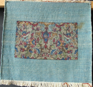 "Very charming small Ispahan or Kashan mat ca 1920. Abstract and nice! approx 2'0"" x 1'9"" All original."
