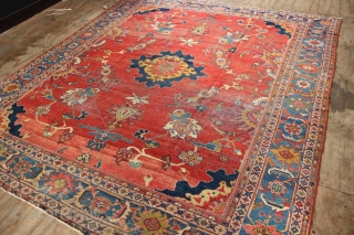 "19th century, white wefted Mahal carpet, worn but very pretty and still useable on the floor. 8'6"" x 10'2"""