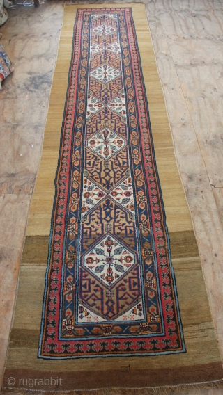 "Sarab runner, dated 1212, 3'5"" x 16'3"". mostly good pile, slightly low in the middle, new overbound sides."