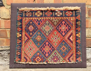 Jaf bagface fragment, mounted. Beautiful surface and great natural dyes.