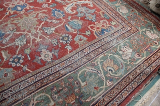 "Ziegler Mahal carpet 11'6"" x 14'8""/ 350 x 447cm. Very pretty and decorative, although worn. Priced accordingly."