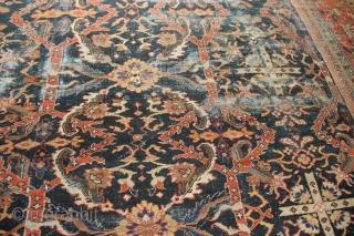 """Antique Mahal carpet circa 1910 13'3"""" x 19'7"""" in as found condition"""