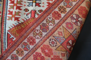 """Melas prayer rug, circa 1850, with a striking wide border filled with giant stars. Professionally and beautifully restored, now clean and ready for your floor. 3'6"""" x 5'0""""/ 105 x 151cm"""